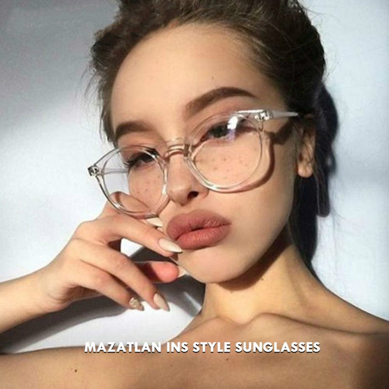 Mazatlan 2019 New Fashion Clear Lens Glasses Frame Women Computer Blue Light Glasses Round Transparent Eyeglasses For Ladies