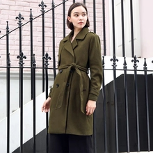 цены Plus Size Fall Winter Work Army Green Lapel Wool Jacket Autumn Vintage England Style Long Outerwear Woolen Coat Belt Overcoat