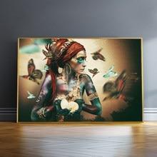 Posteres e impressões africanas com pinturas de borboleta, arte de decoração da parede, posteres e impressões coloridas da menina negra