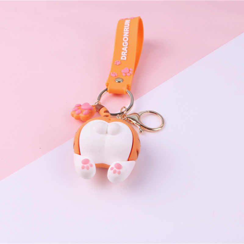 漫画の動物のキーホルダーかわいいおかしい猫お尻キーチェーンペンダント女性のための車のバッグキーリング宝石類のギフト