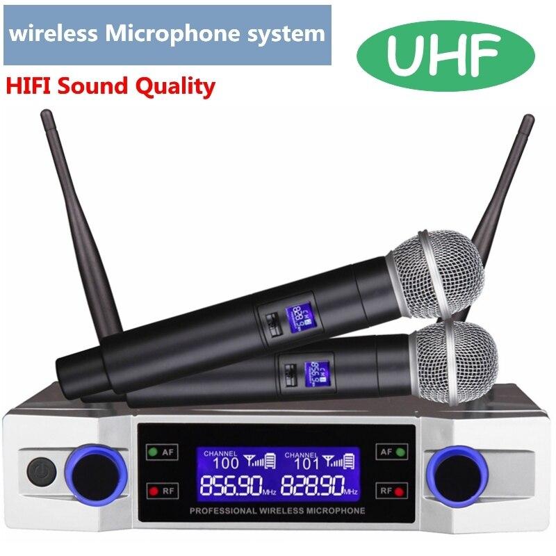 Système de Microphone karaoké sans fil UHF écran LCD + double micro portable parti KTV prise américaine