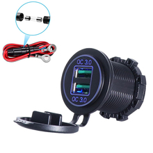 Dual QC3.0 USB Charger Socket, 36W Waterproof Quick Charge 3.0 Power Outlet Adapter for 12V/24V Car Boat Marine Motorcycle
