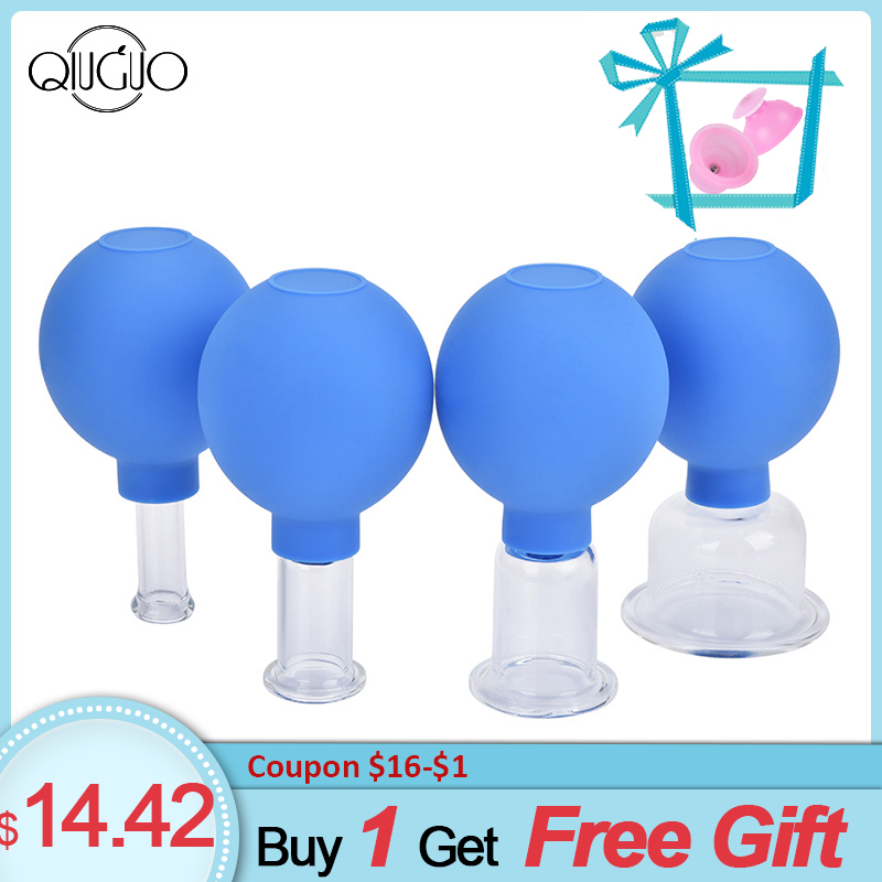 4pcs PVC Vacuum Cans For Massage Back Cupping Therapy Suction Cups Anti Cellulite Body Massager Vacuum Cup Glass