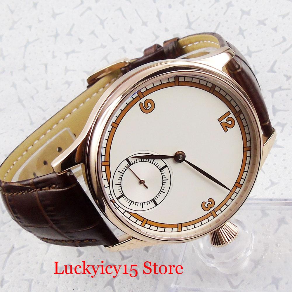 Luxo clássico vestido 44mm rosa ouro mecânico 6498 mão enrolamento relógio masculino estéril dial pulseira de couro - 4