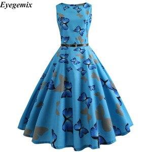 2020 Summer Floral Dresses for Women 50s 60s Big Swing Hepburn Vintage Retro Rockabilly Pin Up Dress Slim Elegant Party SunDress