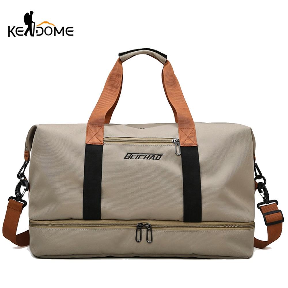 Women Gym Handbag Fitness Traveling Bags Nylon Shoulder Crossbody Sports Patchwork Tote Shoes Sac De Sporttas Gymtas Sack XA295D