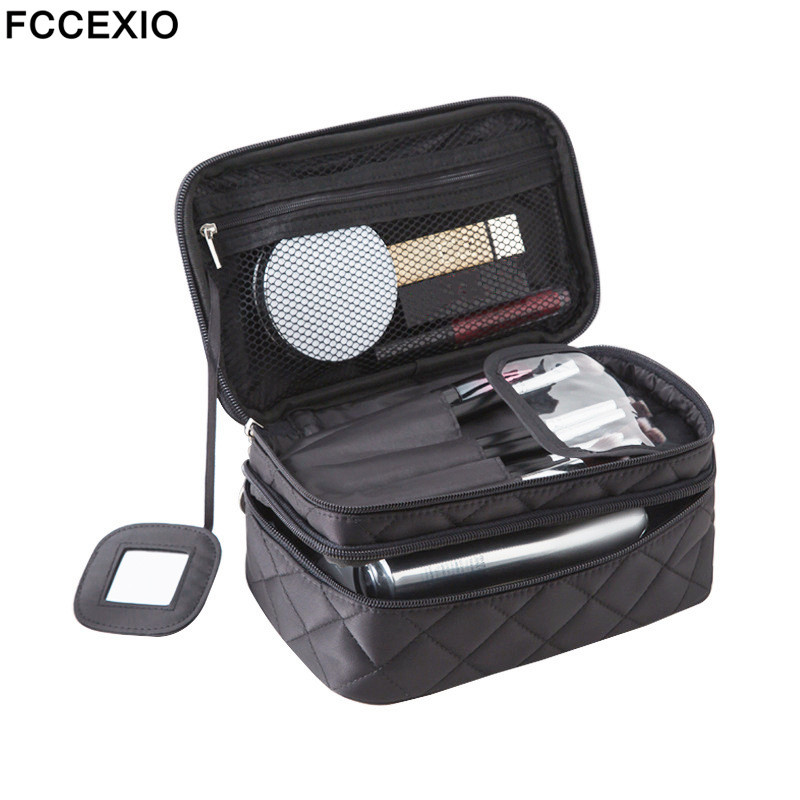 FCCEXIO Women New Fashion Pink Make Up Bag Women's Large Capacity Handbag Leopard Print Bag Cosmetic Bags & Cases