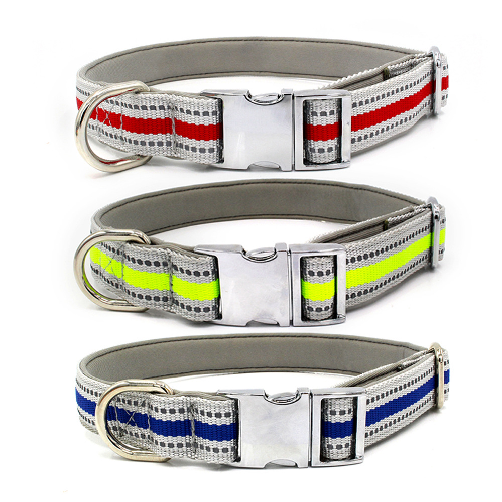 New Style Reflective Nylon Webbing Pet Collar Lettering Dog Neck Ring Hand Holding Rope Cross Border Amazon Manufacturers Direct