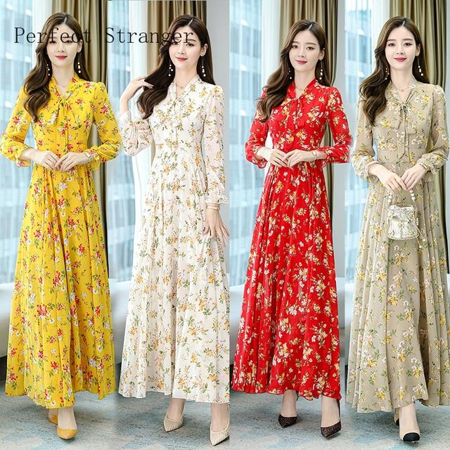 2020 Autumn  New Arrival High Quality Plus Size S-4XL Bow Collar Flower Printed Long Sleeve Women Long Chiffon Dress 2