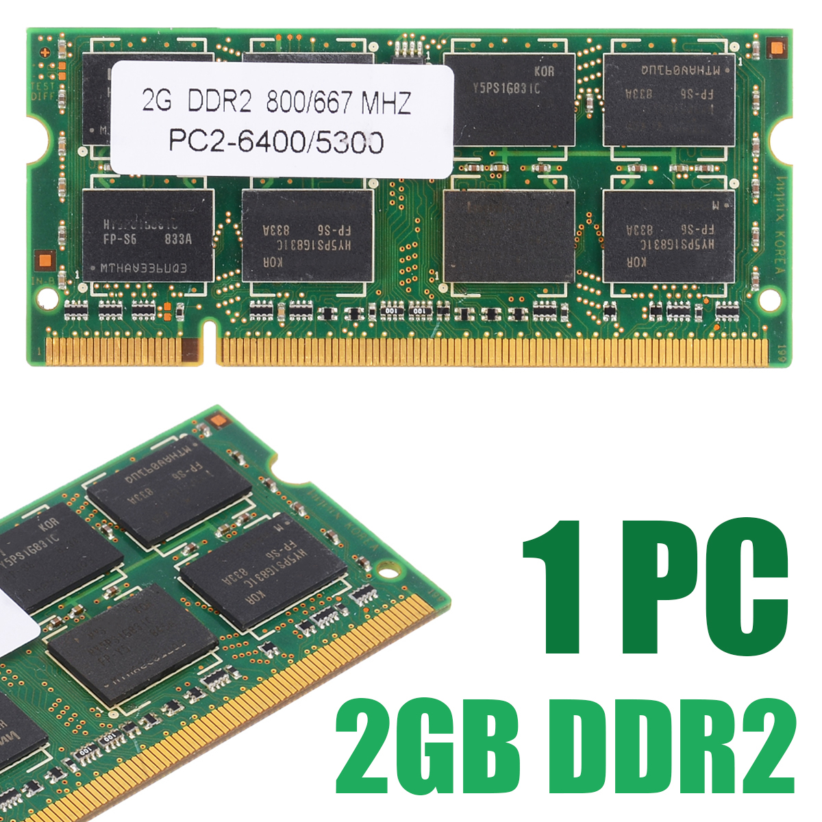1pc Laptop Memory 2GB DDR2 PC2 6400/5300 800/667 MHZ Notebook RAM 200pin Non-ECC Memory For Dell HP Acer ASUS