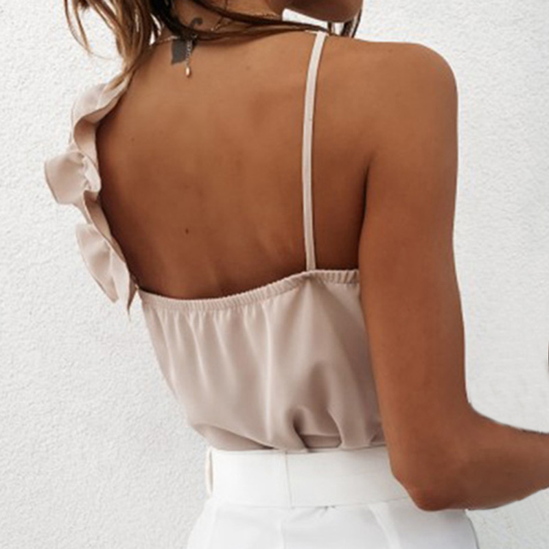 Women Summer Blouse Shirts Sexy V Neck Ruffle Blouses Backless Spaghetti Strap Office Ladies Sleeveless Casual Tops 3