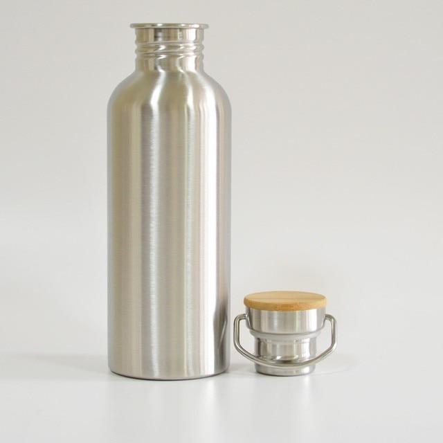 BPA الحرة زجاجة مياه الفولاذ غير القابل للصدأ غطاء من البامبو قارورة رياضية مانعة للتسرب برطمان للطعام للسفر اليوغا ركوب الدراجات التنزه التخييم