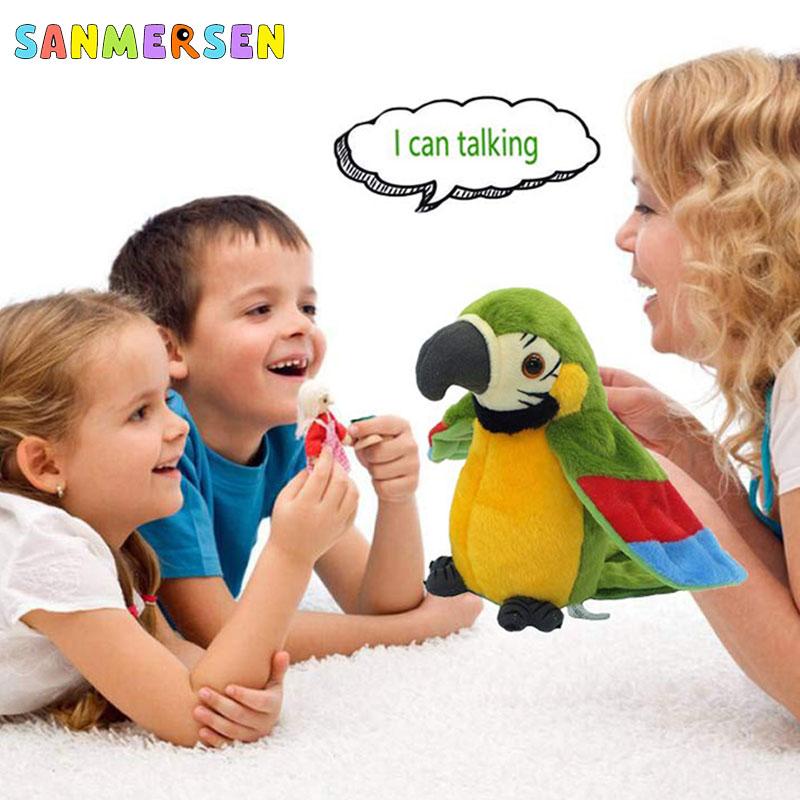 Electric Talking Parrot Plush Toys Cute Speaking Record Repeats Waving Wings Electroni Bird Stuffed Plush Toy Kids Birthday Gift