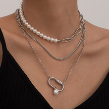 Punk Asymmetric Imitation Pearl Choker Multilayer Chain Necklace for Women Korea Fashion Jewelry Christmas Gifts