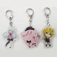 1pc lindo Anime los siete pecados mortales llavero Meliodas Elizabeth Hawk prohibición Gowther Diane juguetes de figuras de personajes animados transparente colgante