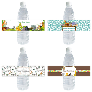 30pcs Jungle Safari Theme Water Bottle Stickers Party Custom Name Jungle Cute Animals Label Water Bottle Wrappers