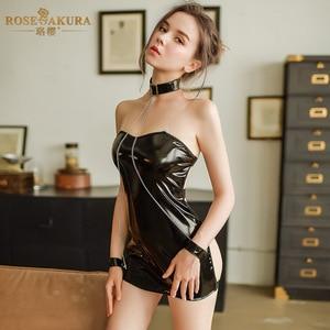 Image 2 - נשים סקסי הלבשה תחתונה שמלת עור שמלת שרוולים הלטר צוואר חצי לראות דרך Slim ערב המפלגה שמלת Clubwear Bdsm Bondage