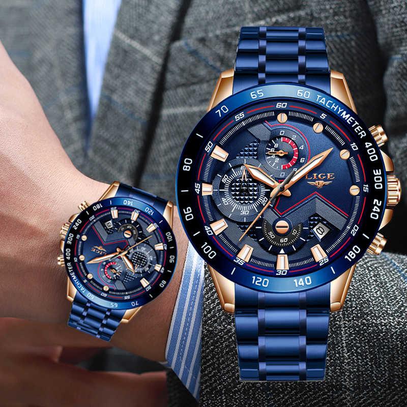 2019 LIGE 뉴 블루 패션 비즈니스 시계 남성 시계 브랜드 럭셔리 모든 스틸 방수 석영 골드 시계 Relogio Masculino