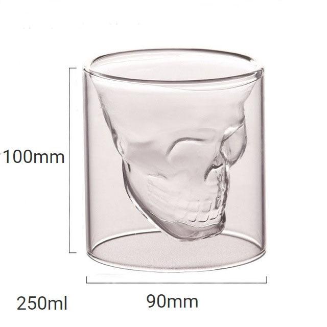 4 размера бренди двухслойный бокал для вина чашка пиратский череп голова прозрачная Хрустальная пивная кружка стопки для водки кофе Winebowl бар - Цвет: 250ml