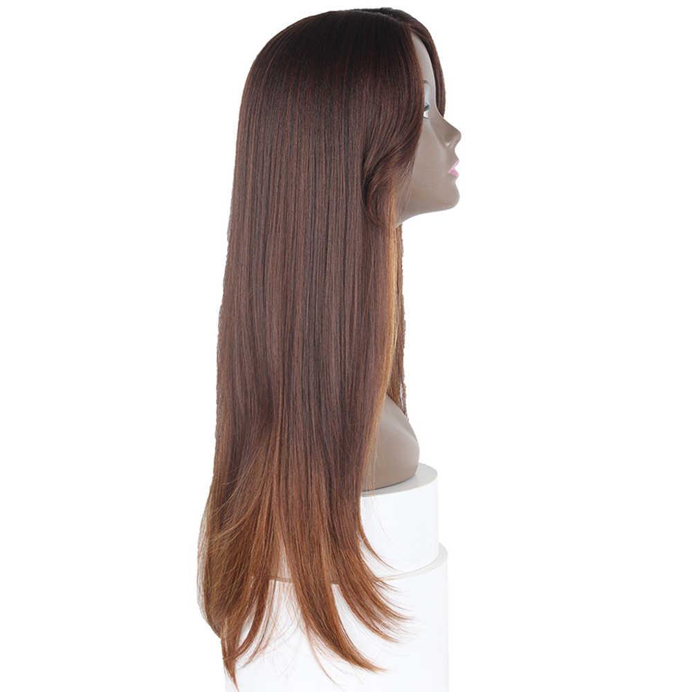 X-TRESS أومبير الأسود براون شقراء الاصطناعية خصلات الشعر المستعار مع بانج 26 بوصة طويل مستقيم الجانب جزء غلويليس هيربيسي للنساء السود