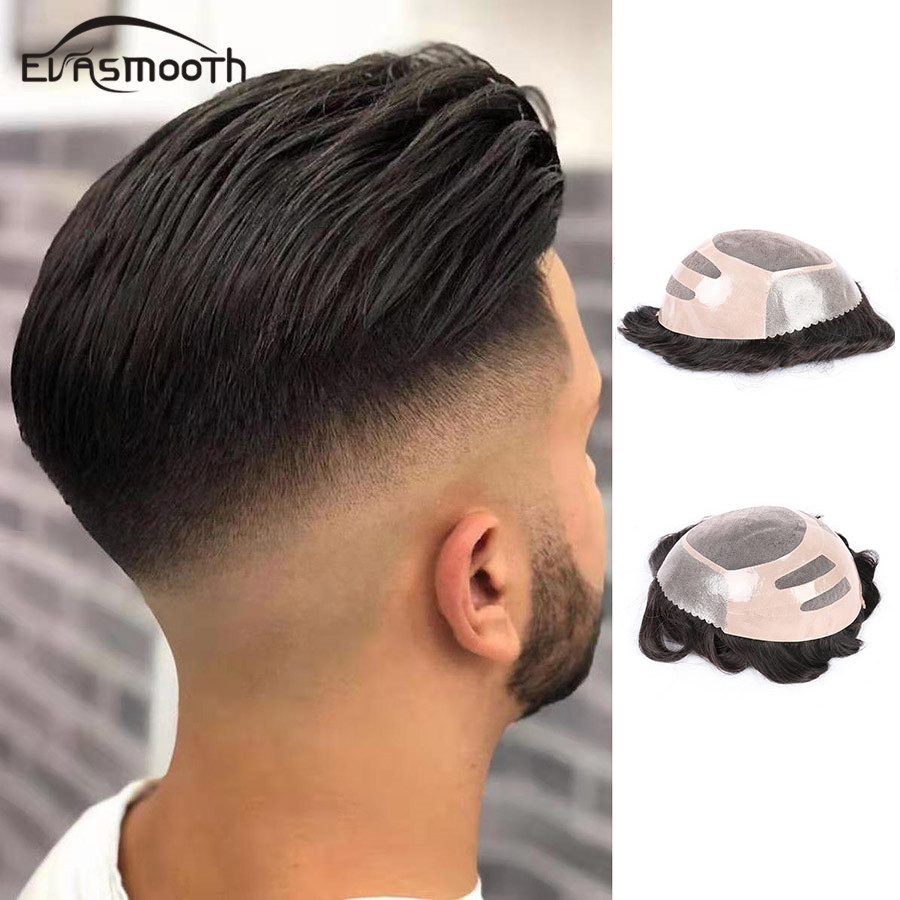 Men Extension Hair Toupee Lace & Pu Mens Wig Real Hair Male Wig Replacement System Remy Human Men Hair Toupee 130 % Density