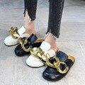Gold Kette Decor Runde Kappe Flache Hausschuhe Maultiere Faul Müßiggänger Schuhe Frauen Outdoor Gemütliche Weiche Leder Hausschuhe Weibliche Casual Schuhe
