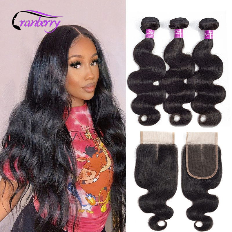 Cranberry Hair Malaysian Hair Body Wave Bundles With Closure 100% Remy Human Hair Bundles With Closure Natural Color 8