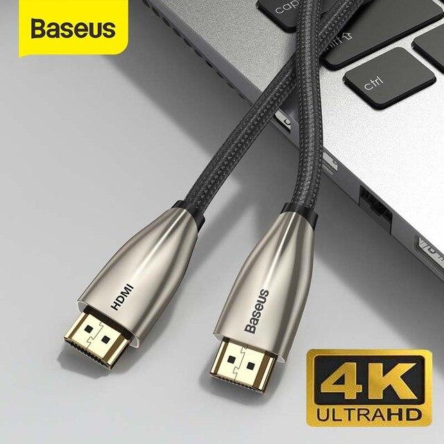 Baseus Cable adaptador HDMI 2,0 a HDMI, 4K, 60HZ, HD, 3D, para PS4, Xbox, proyector, HD, LCD, Apple TV, PC, portátil, ordenador