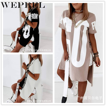 WEPBEL Women Casual Loose Letter Print Shirt Dress Ladies Plus Size Short Sleeve O Neck Mini Dress 1