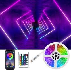 LED bande lumière Bluetooth 5050 Flexible lampe bande Diode 1M 2M 3M 3 clé contrôle DC5V Bluetooth 4M 5M bureau écran TV fond Li