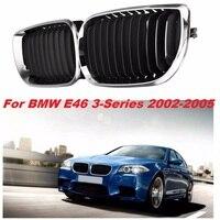 Par l + r chrome frente do carro grade de rim grill para bmw e46 3 series 4 door saloon estate 2001 2002 2003 2004 2005 51137030546|front grille for bmw|grille black|black grill -