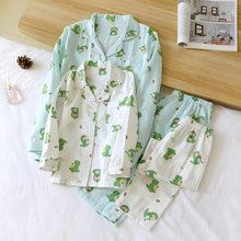 Kawaii Dinosaur 100% gauze Cotton family matching clothes summer Mother kids pajamas sets Fresh child boys girls sleepwear