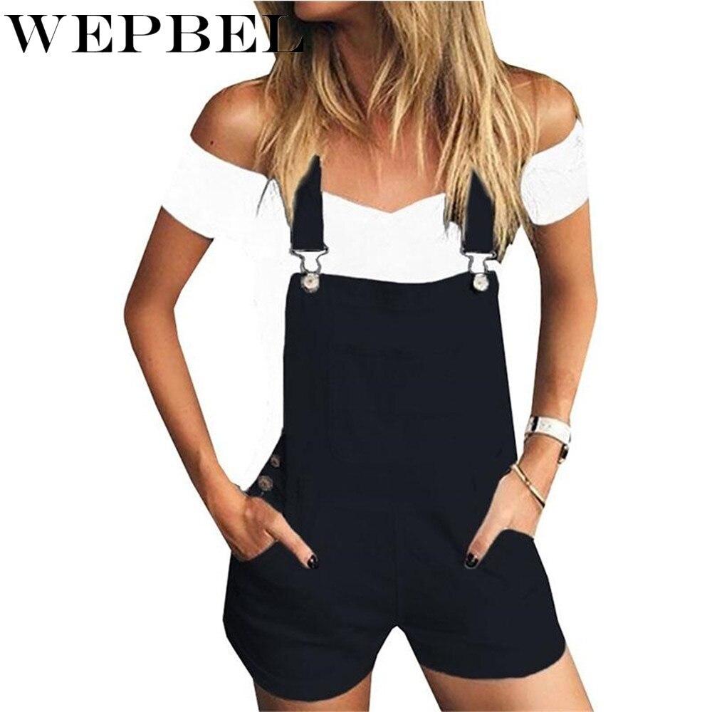Wepbel Women Denim Overalls Fashion Loose Jeans Leisure Sports Shoulder Denim Pants Women's Clothing Shorts
