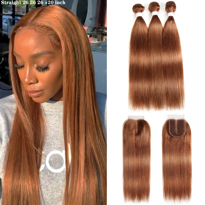 Human-Hair-Bundles Closure Brown Straight Kemy-Hair Brazilian with 3PCS Non-Remy