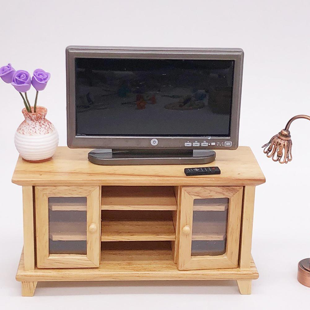 1/12 Doll House Miniature LCD Television TV Remote Set Model Furniture Accessory