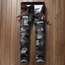 Jean droit de Style européen pour homme, pantalon slim en denim, noir, avec trous pour Moto et motard
