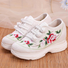 2020 Autumn New Fashion Woman Sport Shoes Floral Embroidery National Casual Shoes