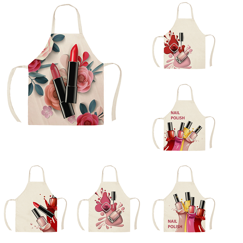 1Pcs Kitchen Apron Nail Polish women flowers Printed Sleeveless Cotton Linen Aprons for Men Women Home Cleaning Tools 55*68cm