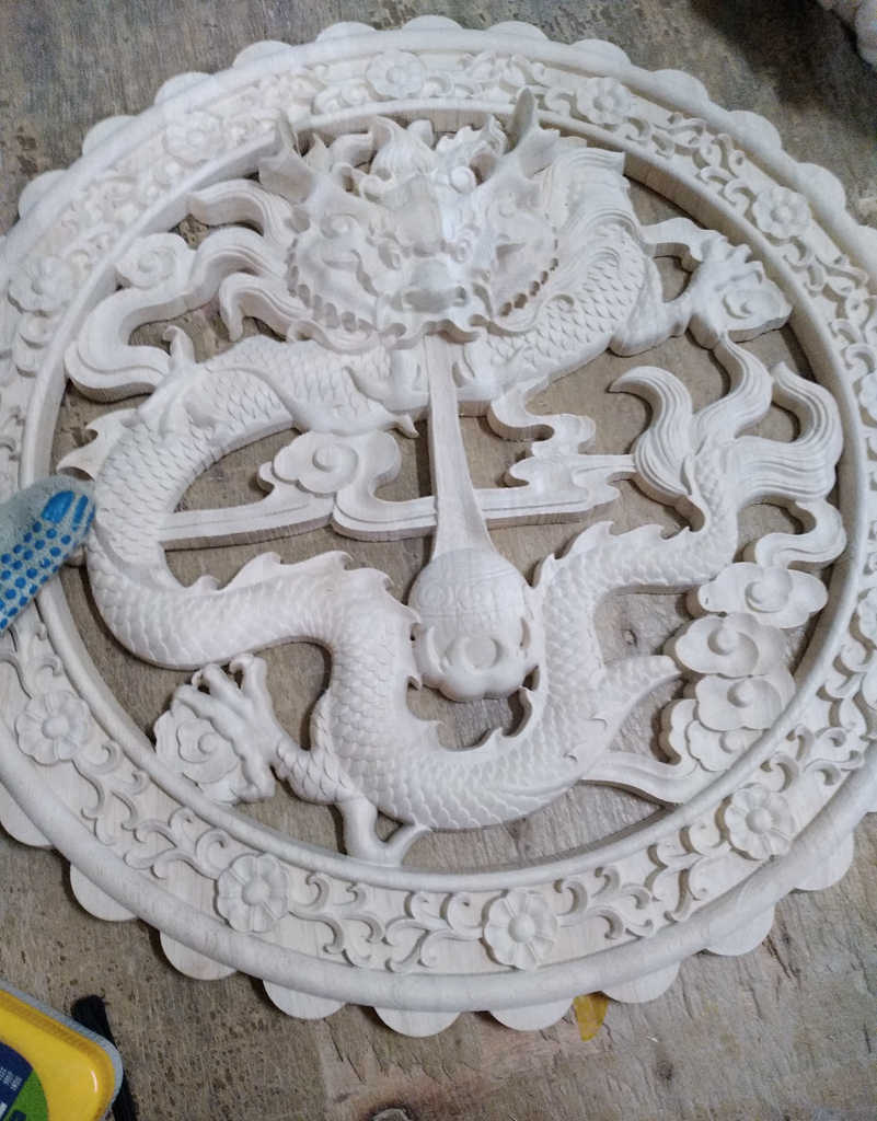 40cm średnicy, wyrzeźbionym smokiem z drewna, naklejka meblowa, dekoracja wnętrza domowego (A1157)