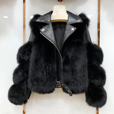 Real Fox Fur Coats With Genuine Sheepskin Leather Wholeskin Natural Fox Fur Jacket Outwear Luxury Women 2020 Winter New 1