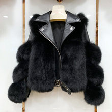 Coats Jacket Real-Fox-Fur Genuine-Sheepskin-Leather Natural Women Luxury Winter