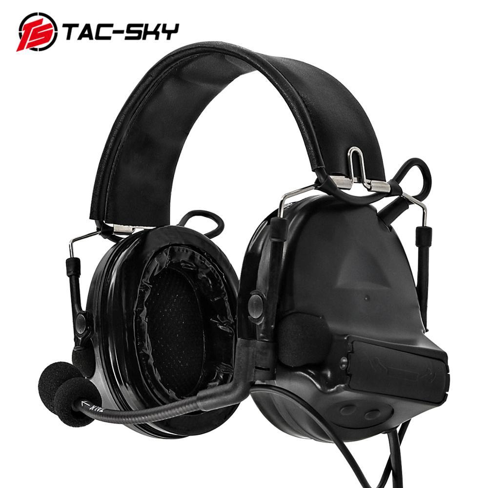 TAC-SKY COMTAC II Silicone Earmuffs Edição Ouvindo Defesa Captador de Redução de Ruído Fones De Ouvido Tático Militar BK