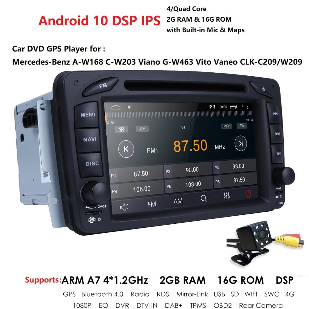 <font><b>2</b></font> <font><b>Din</b></font> 7 Inch Car radio DVD player For Mercedes Benz CLK W209 W203 W208 W463 <font><b>Android</b></font> 10 IPS DSP 2GB+16GB with WIFI RDS Rear Cam image