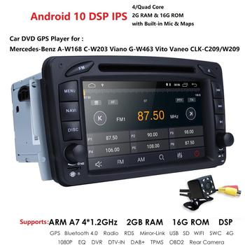 2 Din 7 Inch Car radio DVD player For Mercedes Benz CLK W209 W203 W208 W463 Android 10 IPS DSP 2GB+16GB with WIFI RDS Rear Cam image