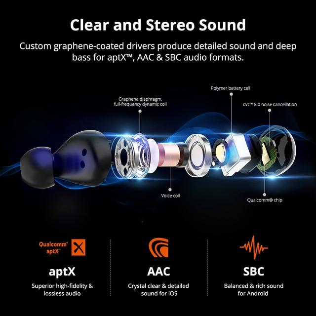[Newest Version] Tronsmart Spunky Beat Bluetooth TWS Earphone APTX Wireless Earbuds with QualcommChip, CVC 8.0, Touch Control 2