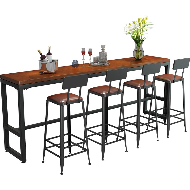 Solid Wood High Foot Bar Table And Chair Family Living Room Combination Wall Bar Partition Long Table Ktv Milk Tea Shop Table An