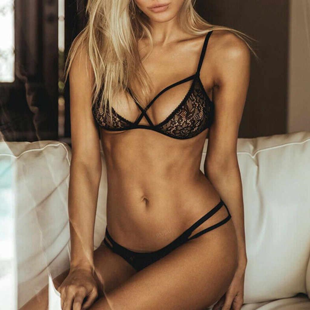 Femmes Lingerie dentelle Spandex Sexy Up soutien-gorge culottes vêtements de nuit ensemble de sous-vêtements