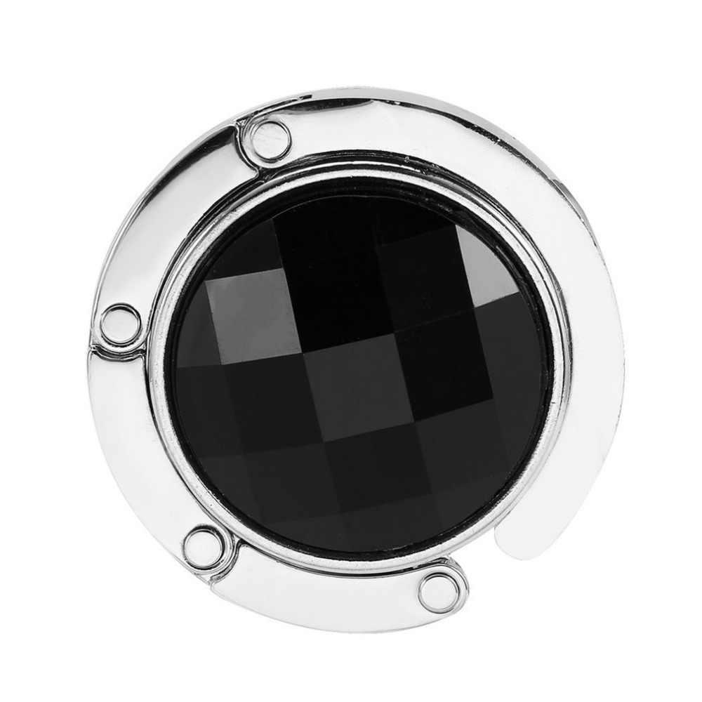 3 cores saco chaveiro gancho portátil dobrável dobrável mesa bolsa gancho titular bolsa cristal strass decoração