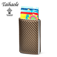 Taihaole 2020 Credit Card holder Women Metal RFID Wallet Aluminium Male Cardholder Business ID Card holder Leather Men purse