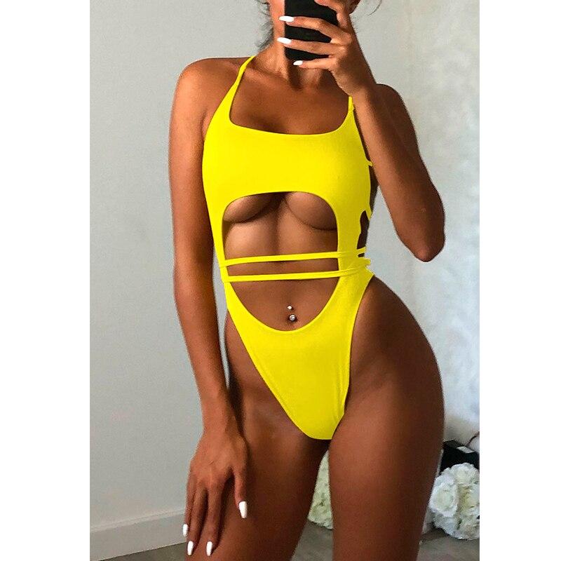 2019 Sexy Hollow Out One Piece Swimsuit Women Bandage Bodysuit Swimwear Push Up Monokini Backless Bathing Suit Summer Beach Wear
